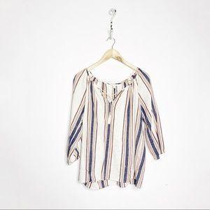 Joie Soft Legaspi Blouse Striped Tie Neck Boho XS
